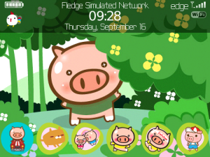 Tema Blackberry Kartun Moo Chicky