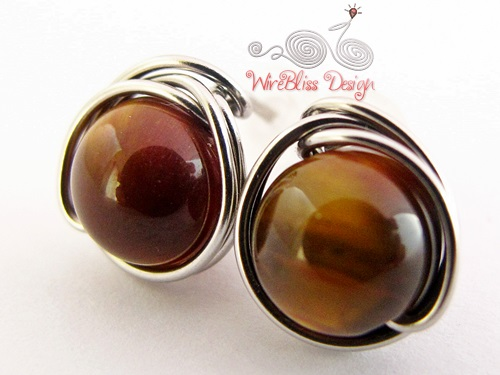 Wire wrapped tiger eye studs by WireBliss