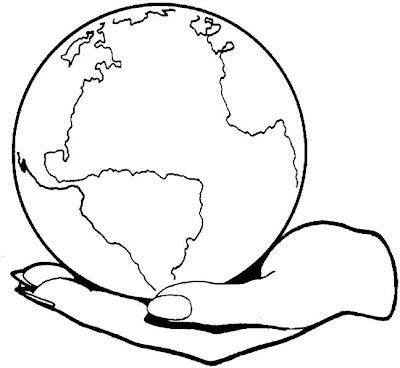 Mano sosteniendo planeta Tierra para colorear ~ 4 Dibujo