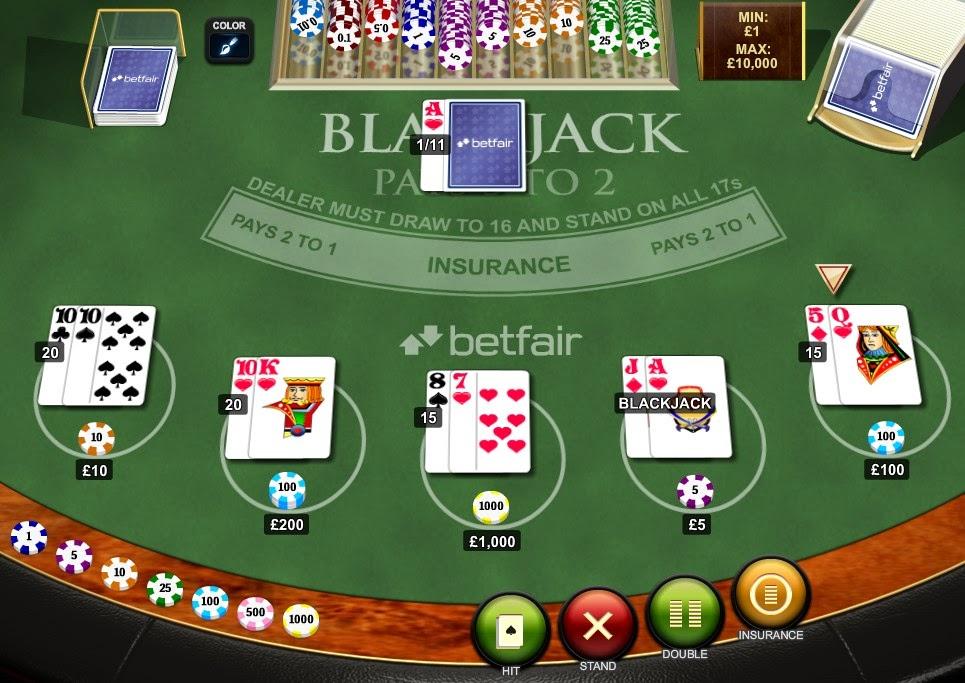 Betfair Blackjack Screen
