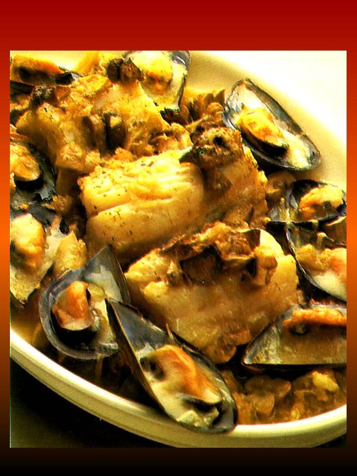 Pa mojar pan pescados y mariscos bacalao fresco con - Cocinar bacalao congelado ...