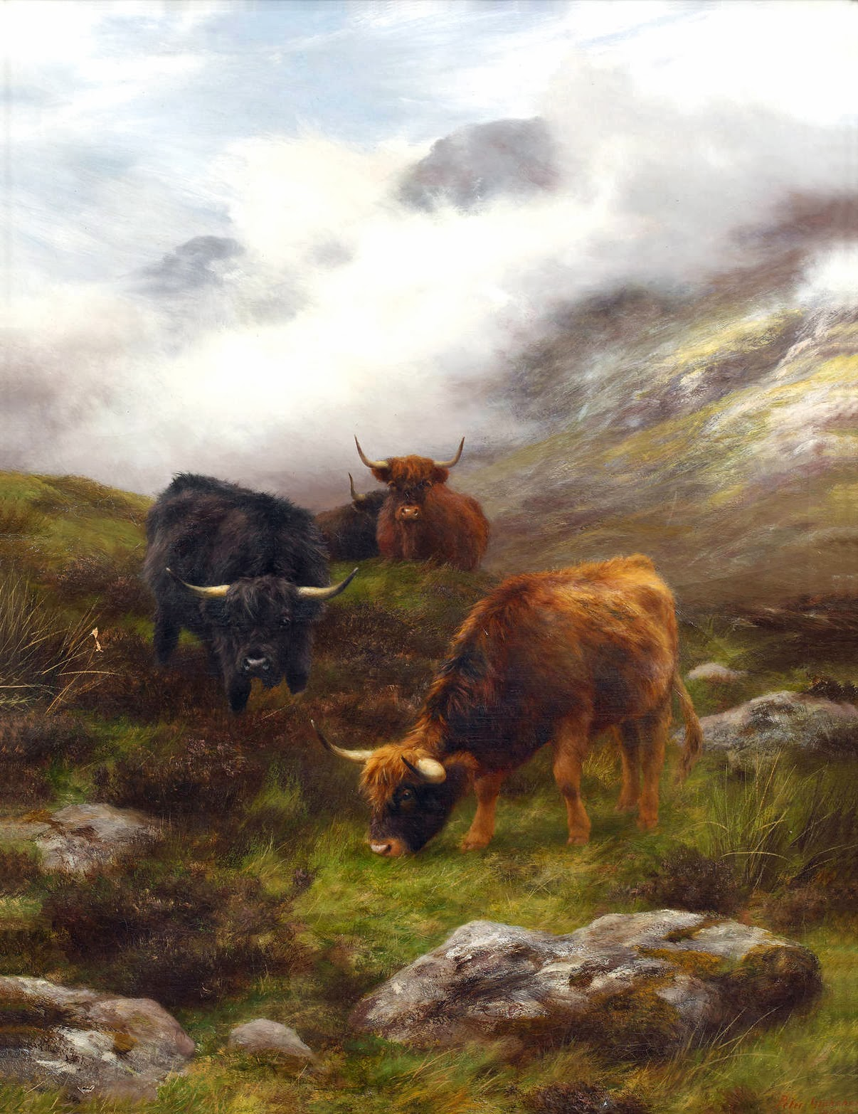 highland cattle in a mountainous landscape 1900 peter graham
