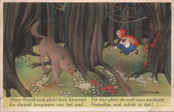Dutch card of Red Riding Hood in the woods with the wolf