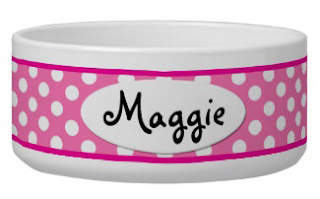 Personalized pink polka dot dog bowl from Zoe Pepper