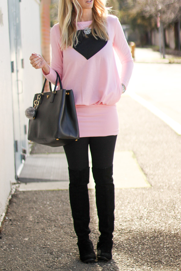 black over the knee boots black leggings pink top