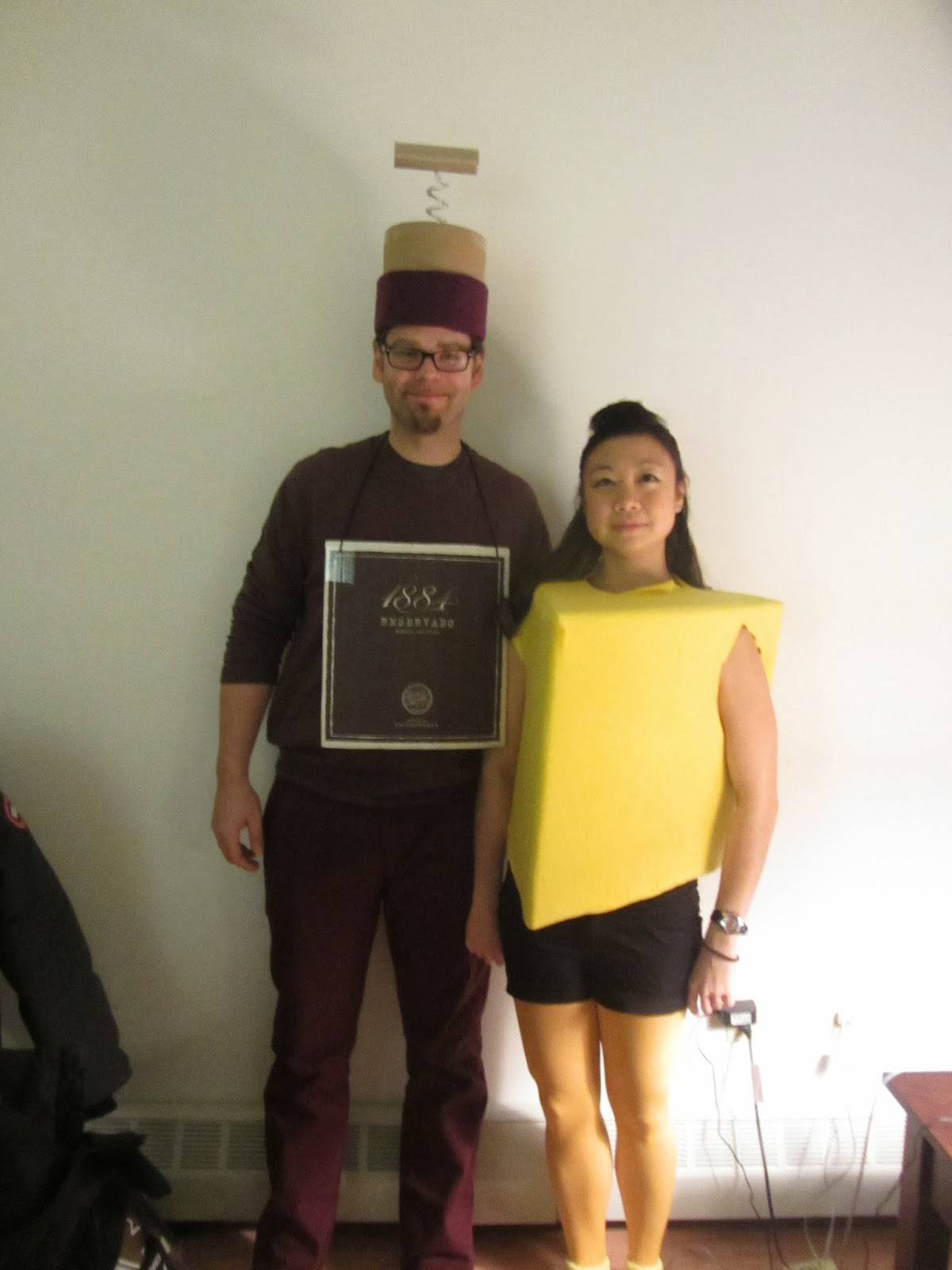 our wine and cheese halloween costume which would not have fit over snow pants