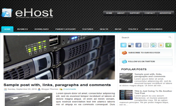 eHost 2 Column Blogger Template