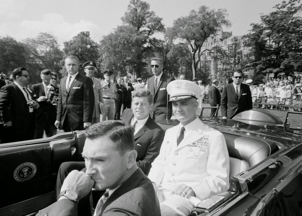 SAs Yeager, Godfrey, and Wiesman guard JFK, General Westmoreland, and Kenny O'Donnell