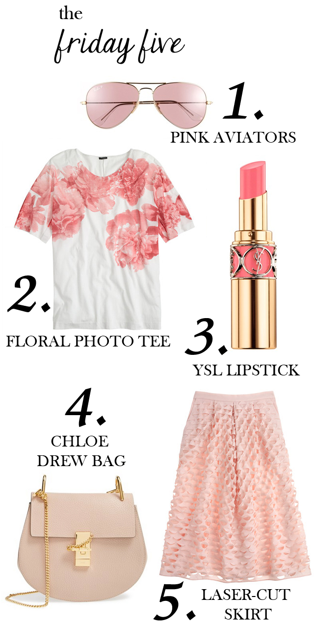 the friday five with pink ray-ban aviators, ysl rouge volupte lipstick, j.crew floral photo tee, j.crew laser-cut midi skirt and chloe drew bag in cement pink M Loves M @marmar