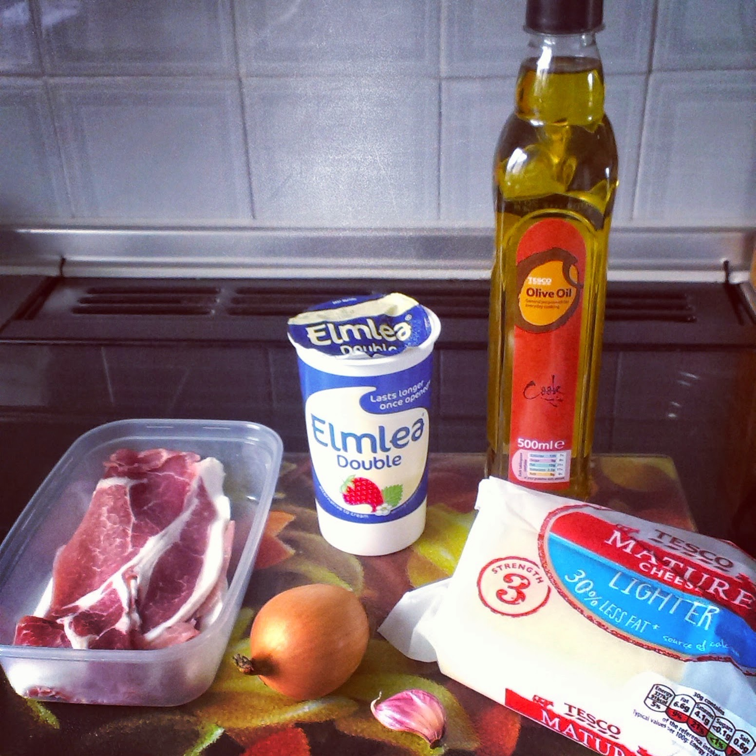 Ingredients for Cheese and Bacon Gratin