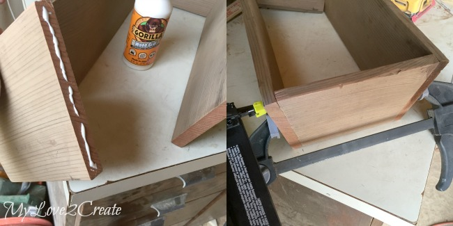 Gluing and nailing crate ends to side pieces