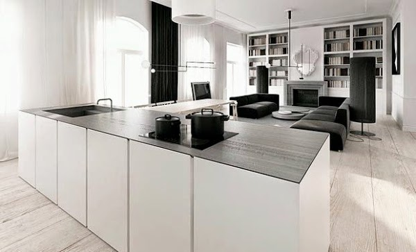 white invisible kitchen design island living room