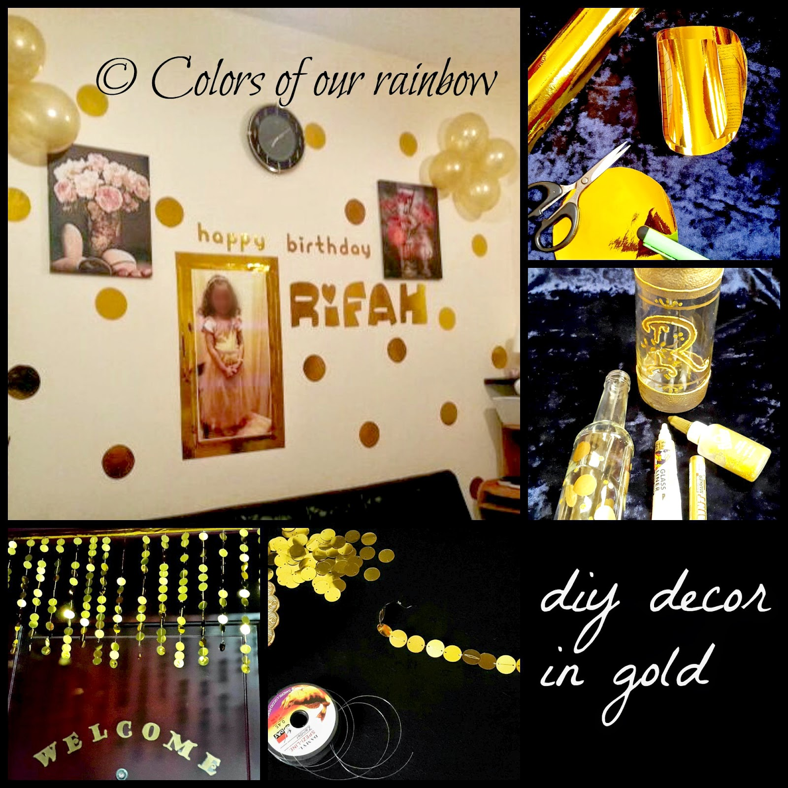 diy gold decoration, sequin door hanging, monogram vase, contact paper polka dot wall