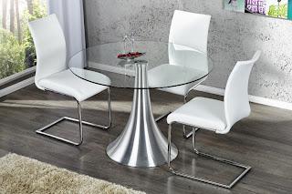 skleneny stôl, okruhly stôl do jedalne, kuchynsky maly stôl, moderny skleneny stôl