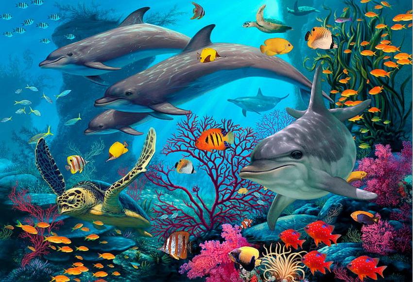 Cuadros pinturas oleos cuadros de coloridos peces en el for Pintura para estanques de peces