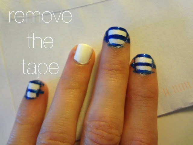 removing tape for stripes on nails