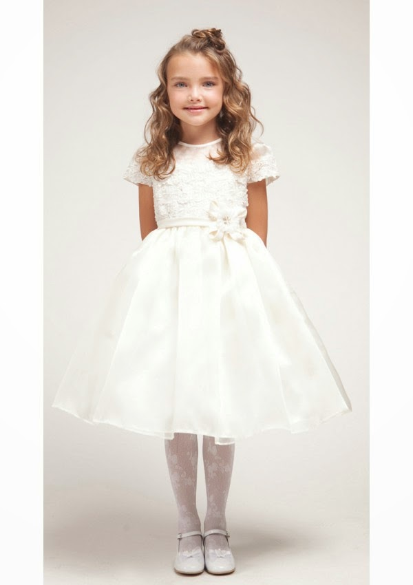 Vogue Short Sleeves Bowknot Knee Length Flower Girl Dresses