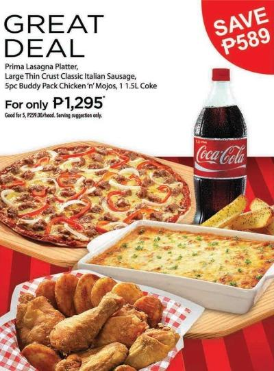 shakeys delivery choose from 3 big deal promos pinoy
