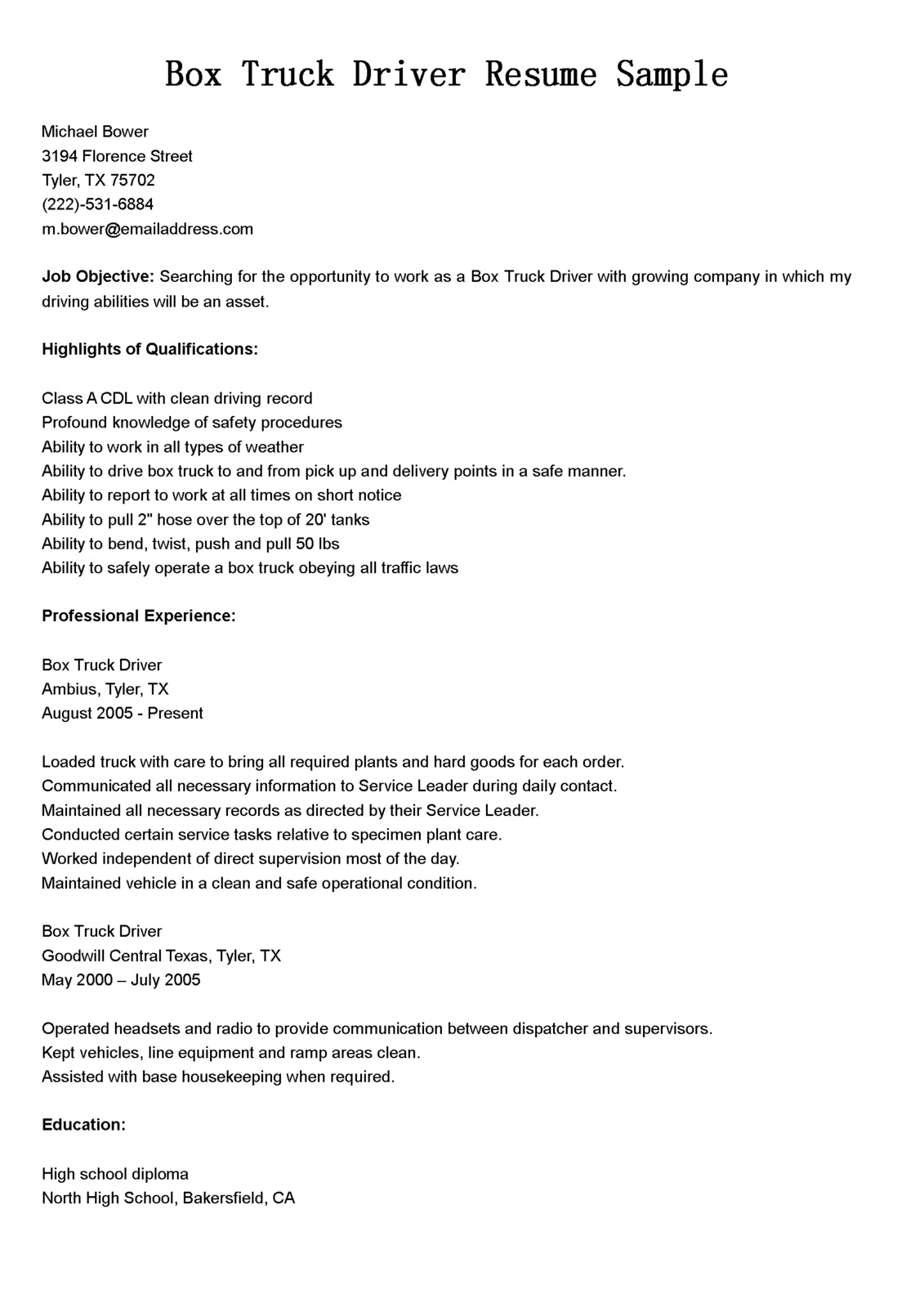Driver Resumes: Box Truck Driver Resume Sample
