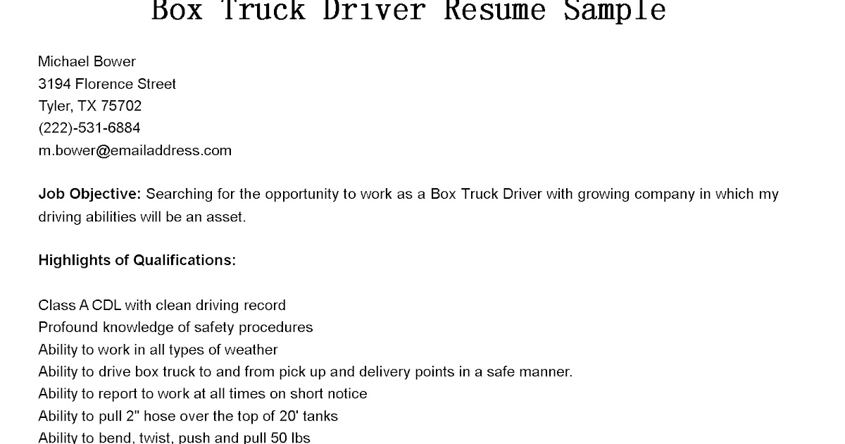 box truck driver cover letter - Template