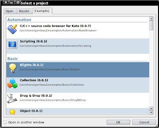 screenshot Dialog select a project gambas2 - example