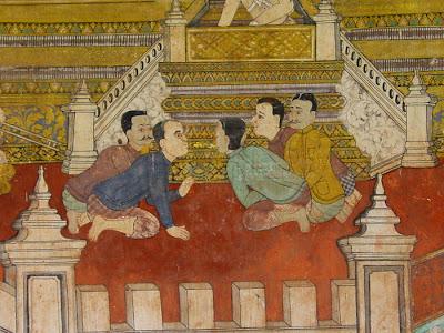 Ramayana mural, men talking, Silver Pagoda, Phnom Penh, Cambodia