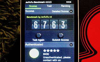 the AnTuTu benchmark score, which is better than Samsung Galaxy S3