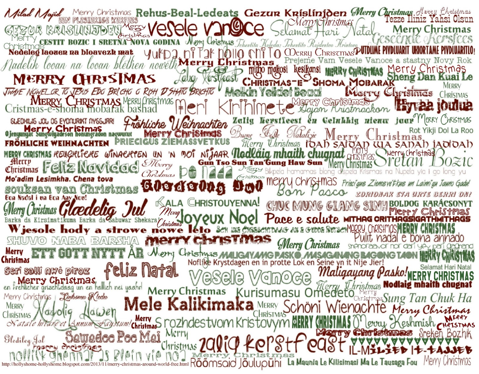 photograph about Merry Christmas in Different Languages Printable named HollysHome Relatives Daily life: Merry Xmas More than the Planet