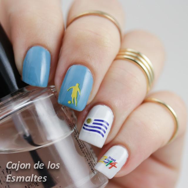 nail art decoracion mundial uruguay worldcup nail