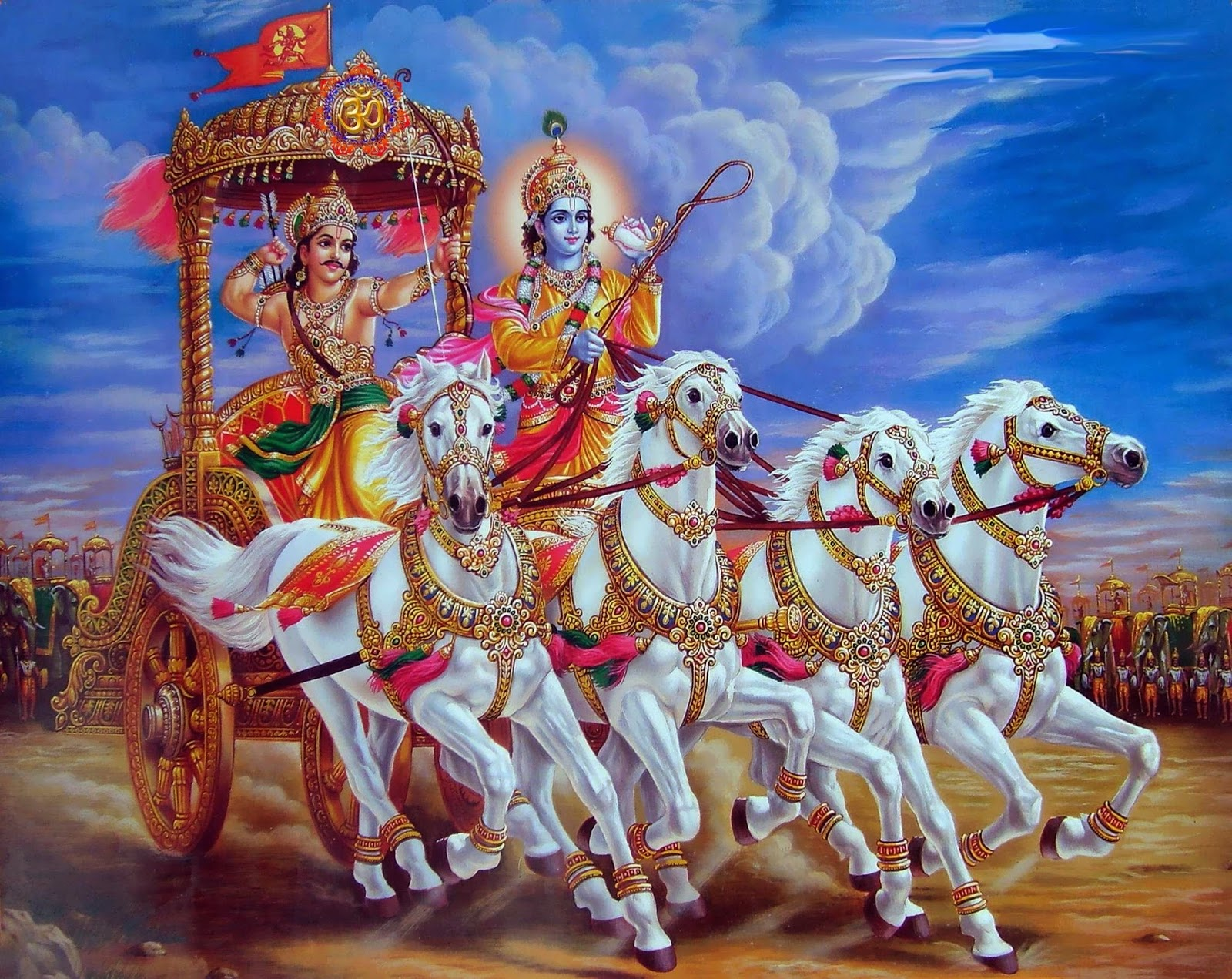 Lord Krishna image driving the chariot of Arjuna