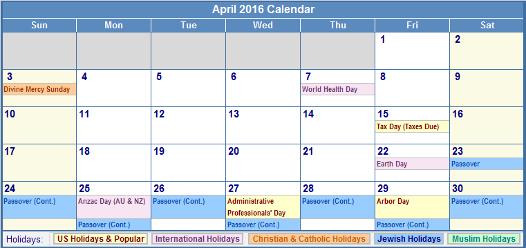 Calendar April With Holidays : April blank printable calendar