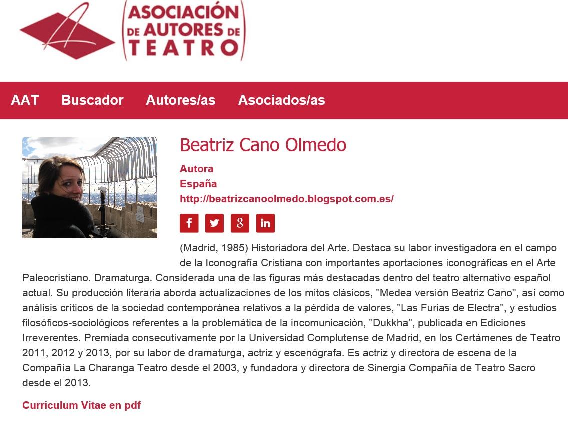 Beatriz Cano Olmedo | Asociación de Autores de Teatro (AAT)