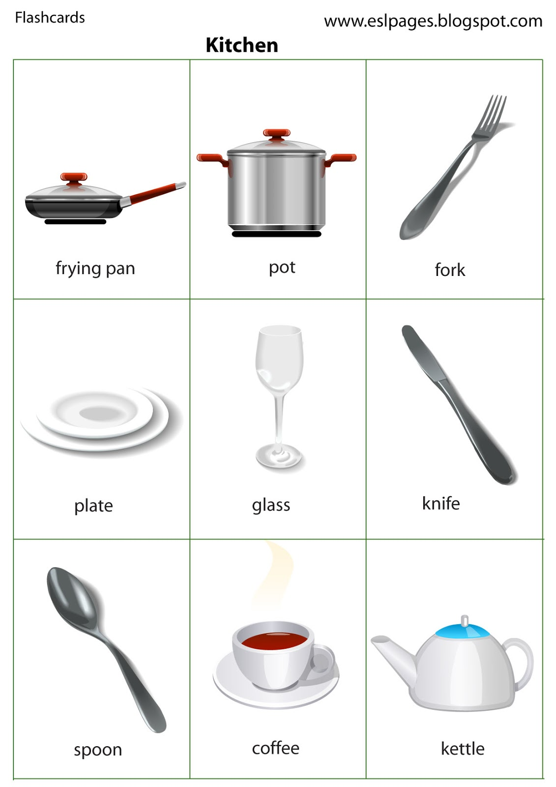 Kitchen flashcards images frompo for Kitchen utensils names