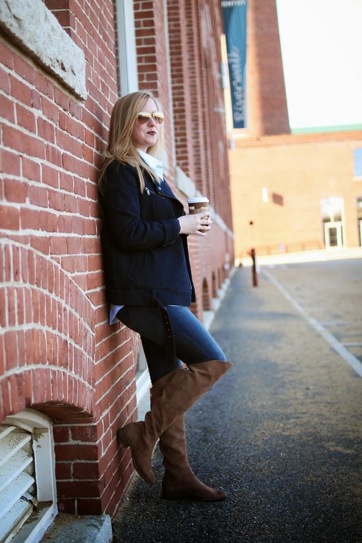 dolce vita meris over the knee boots, dunkin latte, boston blogger, boston fashion blogger, style blog
