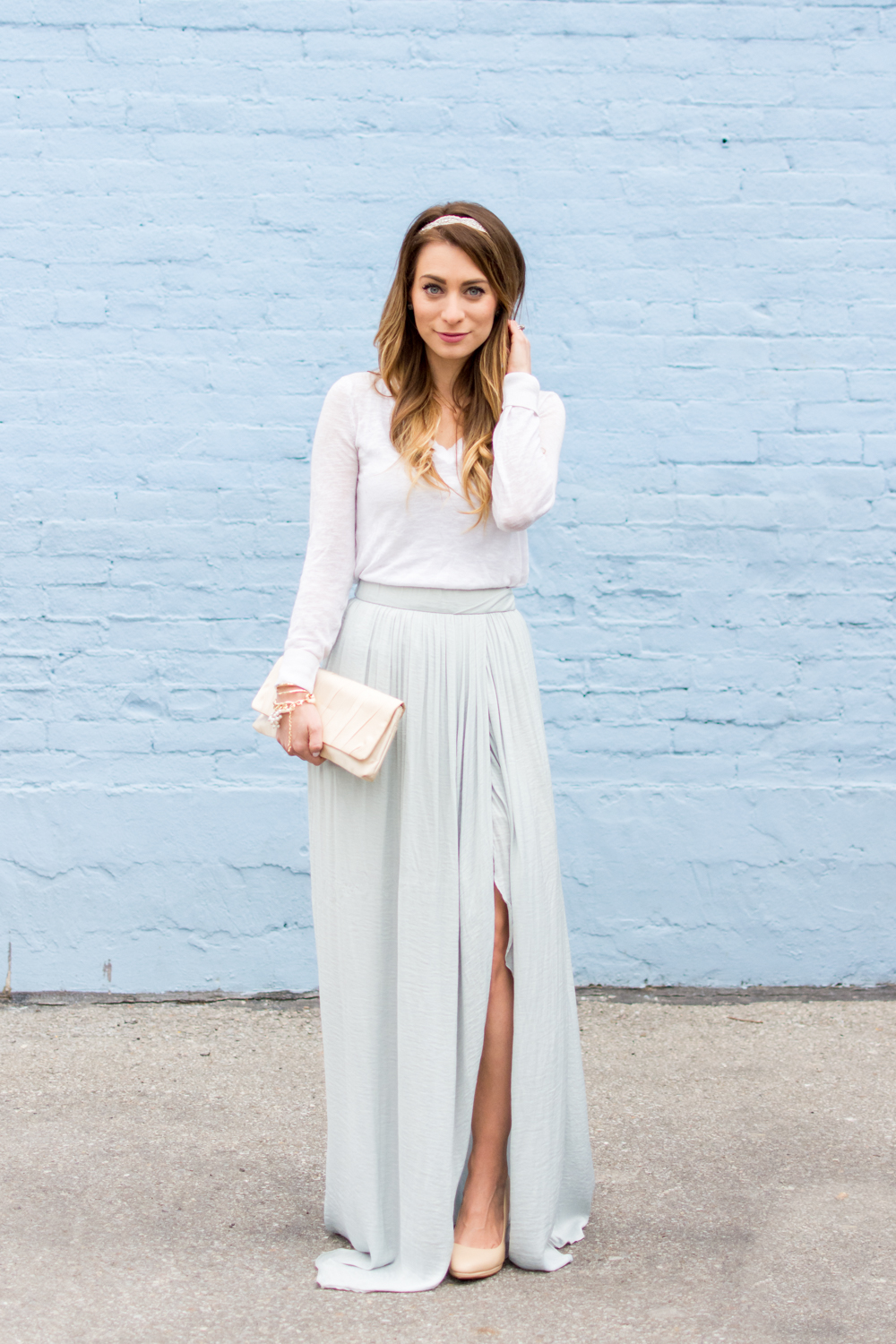 ootd blue maxi skirt in winter la petite noob a