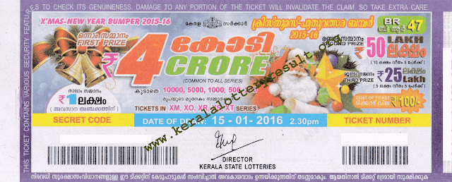 Xmas New Year Bumper BR 47 Lottery Result 15-01-2016
