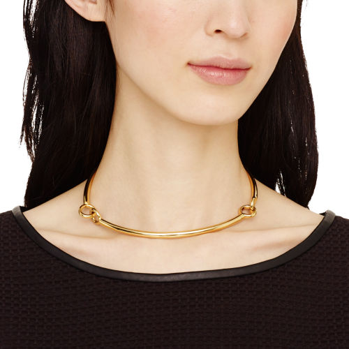 close-up of gold baby-knot choker