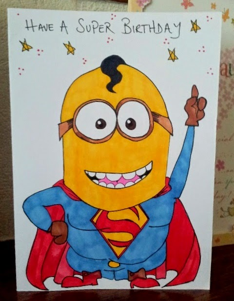Carmen Wing - Superman Minion Birthday Card - Fineliner and Sharpie pens