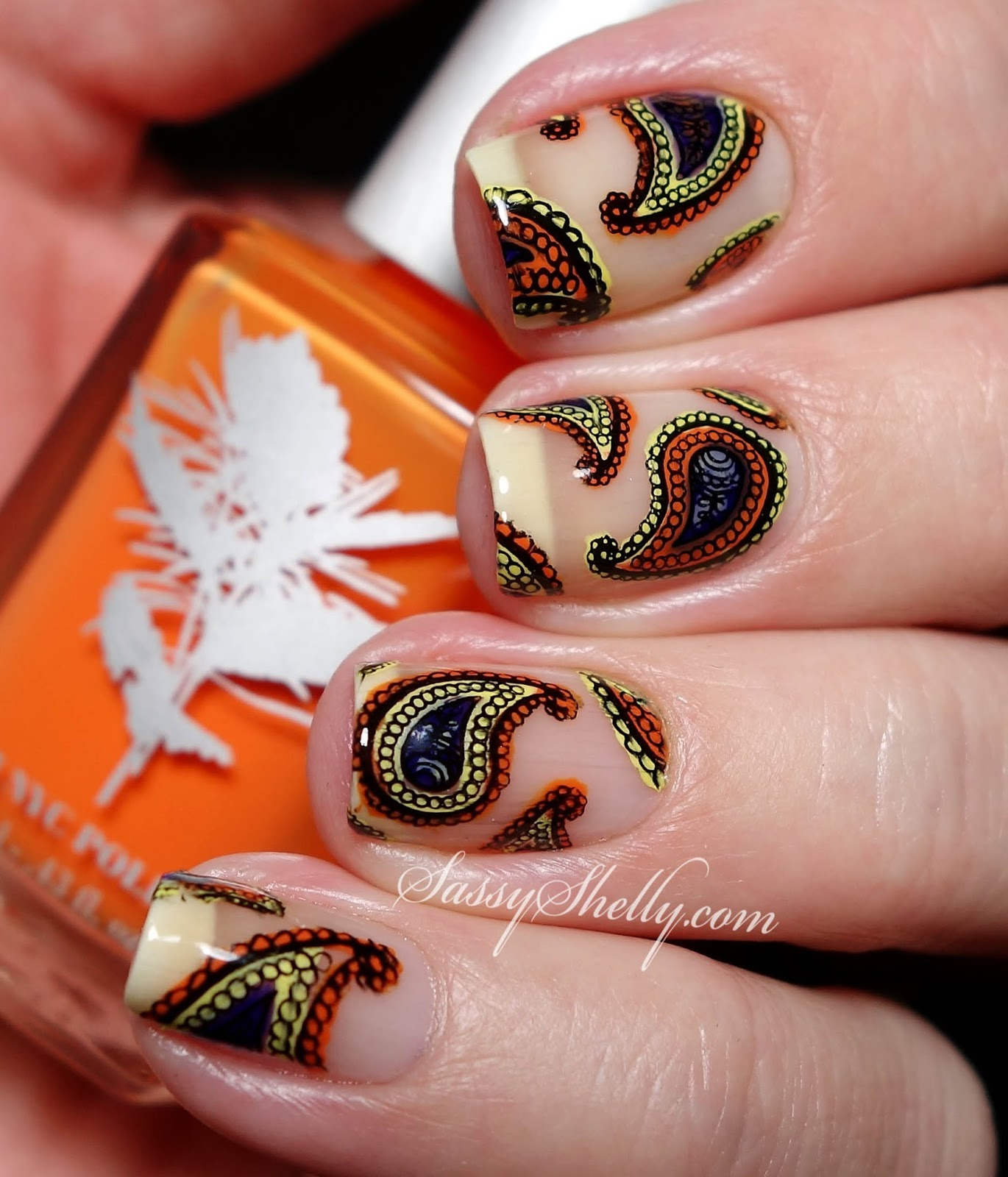 Paisley Nail Art: Digit-al Dozen DOES Vintage~ Day 5: Floating Paisleys With