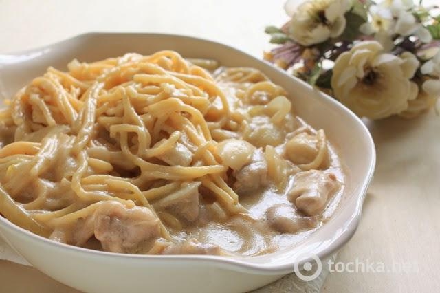 Макароны с сливочном соусе с курицей и грибами с фото в