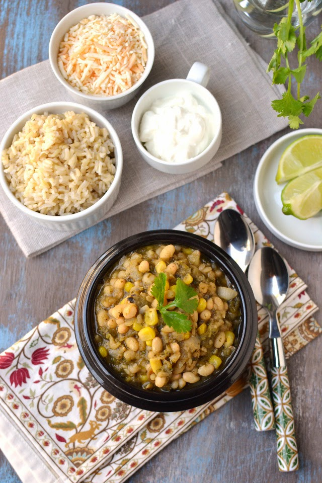 Vegetarian White Chili with Roasted Poblano Peppers
