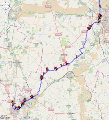 Cottenham Cyclist: Cambridge to Hitchin via Ashwell. It's a bit hilly.
