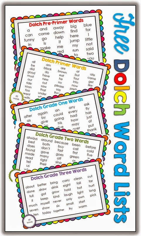 Free Dolch Words Pre-Primer to Grade Three