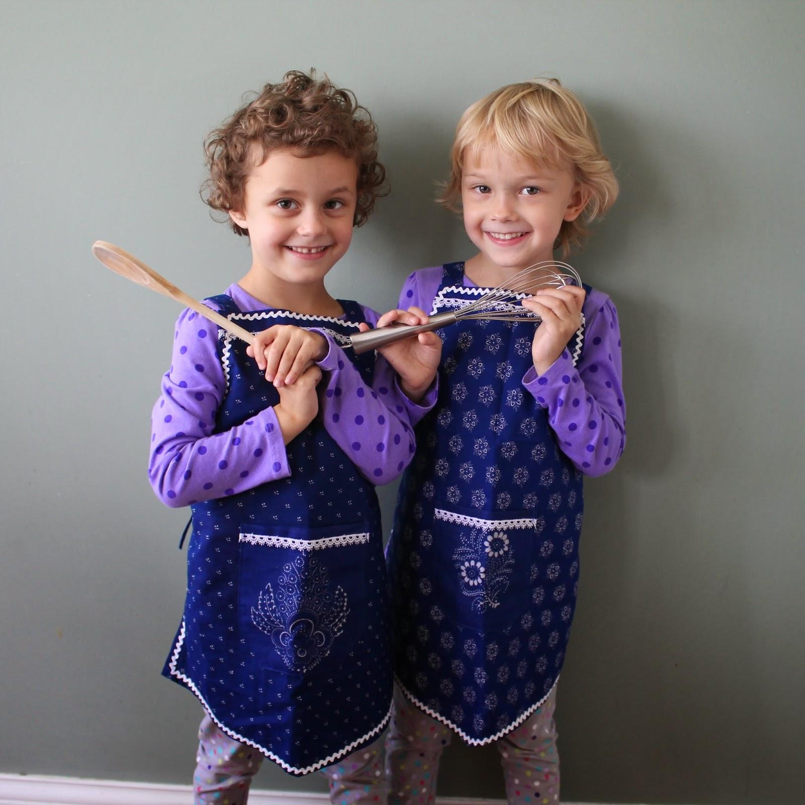 Blue-dye apron on little girls
