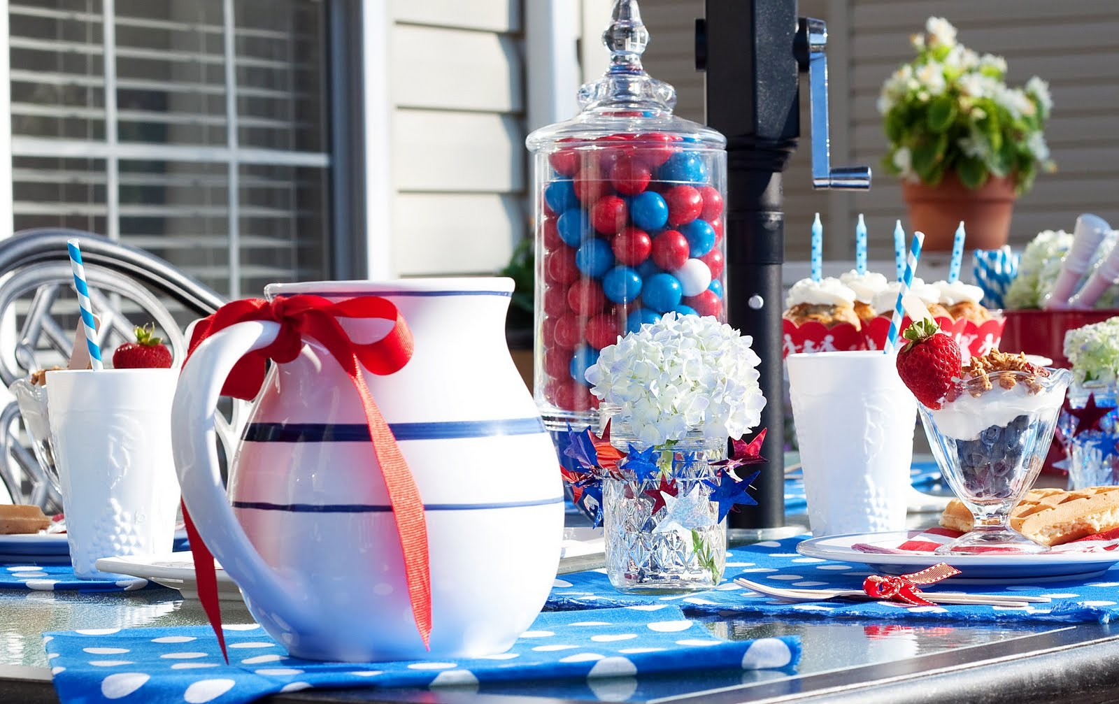 Sheek shindigs a red white blue polka dotted - Red white and blue party ideas ...