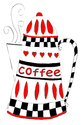 Coffee Pot Crudoodle Digital Stamp by Tori Beveridge color