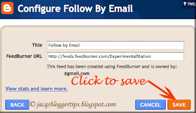 Screenshot of Blogger's Configure Follow by Email window