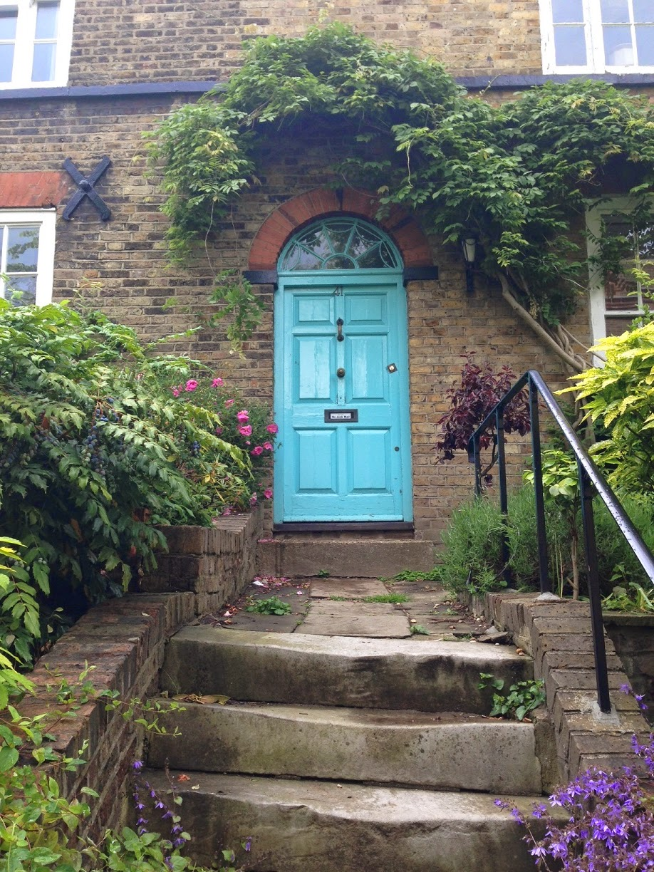 Brightly coloured door, Flask Walk, Hampstead, London NW3
