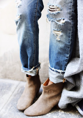 Sincerely, Jules in distressed denim and tan booties