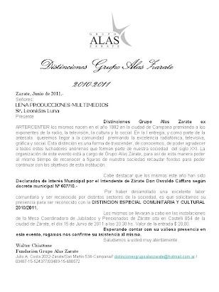 LENA PRODUCCIONES DISTINCION ESPECIAL